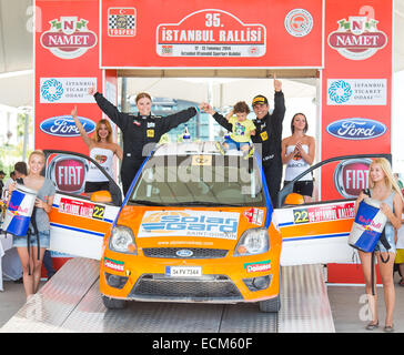 ISTANBUL, TURKEY - JULY 13, 2014: Alptekin Isikalp became eleventh with Ford Fiesta ST in 35. Istanbul Rally - Stock Photo