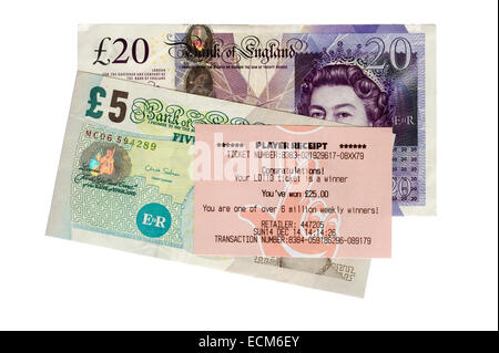 receipt for a twenty five pounds sterling win on the national lottery placed on top of two banknotes totaling £25 - Stock Photo