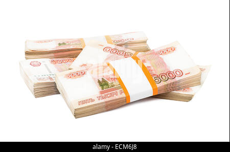 Russian rubles on a white background - Stock Photo