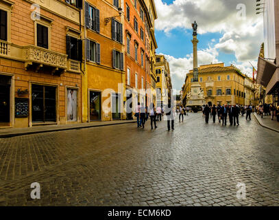 Column of the Immaculate Conception at south east extension of Piazza di Spagna, in Rome Italy - Stock Photo