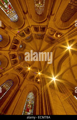 Dome and stained glass windows inside Saint-Pierre cathedral at choir place, Geneva, Switzerland (HDR) - Stock Photo
