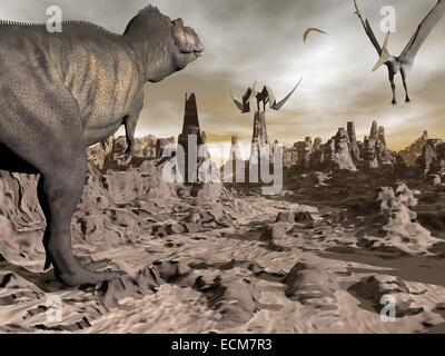One tyrannosaurus dinosaur running to pteranodons flying upon brown rocky desert by night - Stock Photo