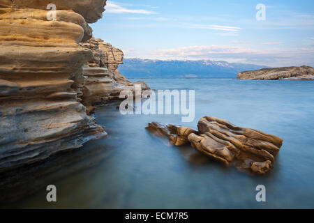 Sand rocks on island Rab, Croatia - Stock Photo