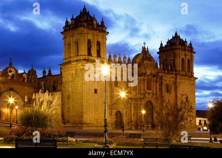 Cusco Cathedral (Nuestra Sra. de la Asuncion) and Plaza de Armas, Cusco, Peru - Stock Photo