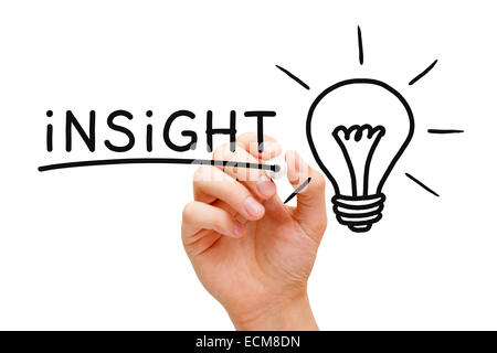 Hand writing Insight with black marker next to a glowing light bulb on transparent wipe board. - Stock Photo