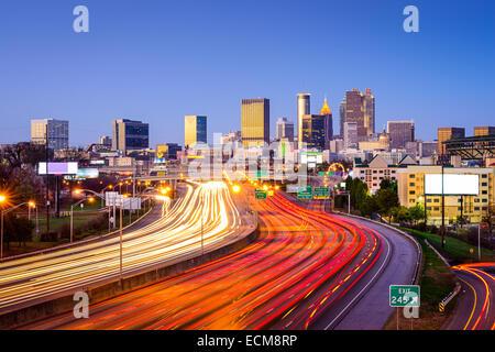 Atlanta, Georgia, USA downtown city skyline over the interstate highway. - Stock Photo