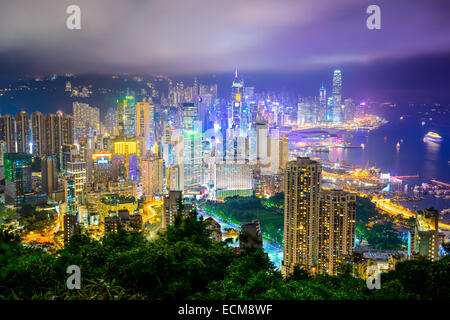 Hong Kong, China city skyline at night. - Stock Photo