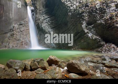 Kozjak waterfall in river Soca valley, Goriska, Slovenia - Stock Photo
