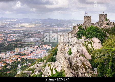 Sintra, Portugal at the Moorish Castle and Sintra townscape. - Stock Photo