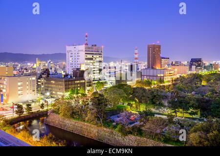 Wakayama City, Japan cityscape at twilight. - Stock Photo