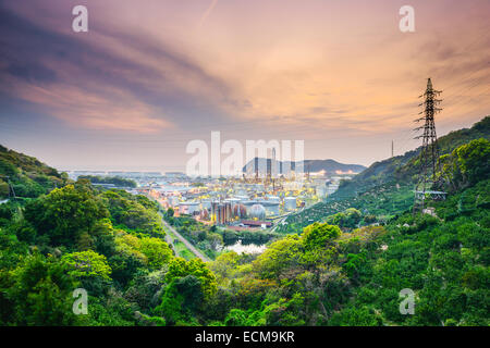 Wakayama, Japan oil refineries. - Stock Photo