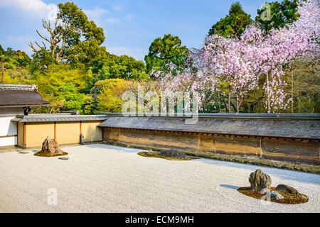 Kyoto, Japan at Ryoan-ji Temple Zen garden in the spring season. - Stock Photo