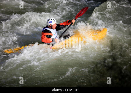 Kayak competition, Toce river, Crodo, VCO, Piedmont, Italy. - Stock Photo