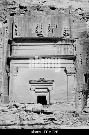 The carved tomb of Uneishu in Petra, Jordan - Stock Photo