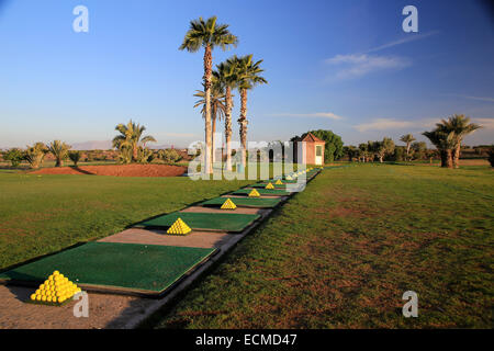 Tropical golf driving range practice with golf balls stacked in pyramids. - Stock Photo