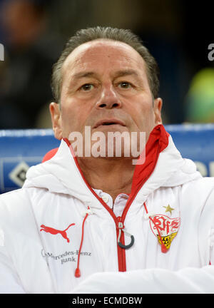 Hamburg, Germany. 16th Dec, 2014. Stuttgart's coach Huub Stevens stands in the arena before the German Bundesliga - Stock Photo
