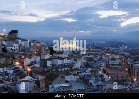 Cathedral at night, Jaen, Andalusia, Spain, Europe - Stock Photo
