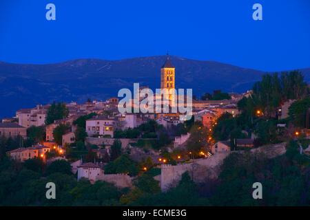 San Esteban Church at dusk, Segovia, Region of Castile and León, Spain - Stock Photo