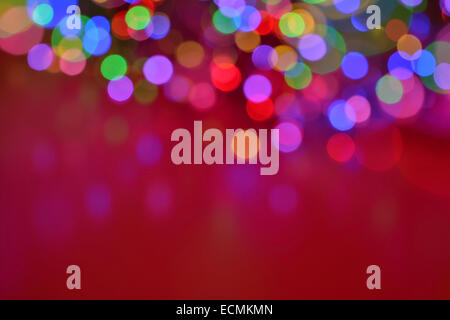 Colourful soft christmas lights background in with copyspace - Stock Photo