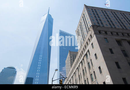 New York City New York Vesey Street new World Trade Center Building  in downtown Manhattan - Stock Photo
