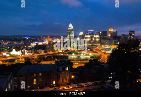 Cincinnati Ohio night exposure from above at Mt Adams at The View in Midwest skyscrapers skyline - Stock Photo