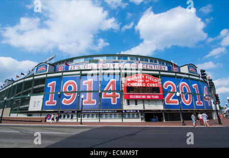 Chicago Illinois famous Wrigley Field for Major League Baseball team of Chicago Cubs built in 1914 - Stock Photo