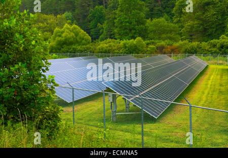 Georgia solar panels energy green solar mountains Sky Valley, - Stock Photo