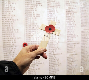 Remembrance.World War One at The Menin Gate Memorial to the Missing.a war memorial in Ypres, Belgium, dedicated - Stock Photo