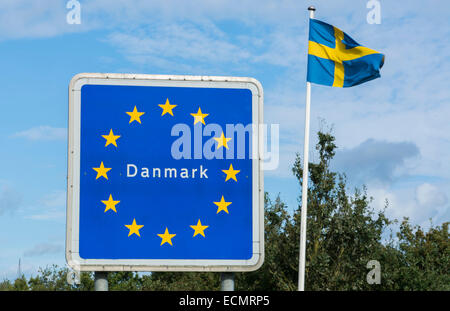 Welcome to Denmark sign of EU from Germany to Denmark - Stock Photo