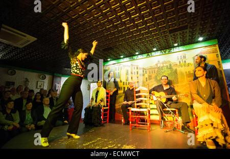 Granada Spain traditional Flamenco dancer with musioc in Tablao Albayzin Restaurant and costumes - Stock Photo