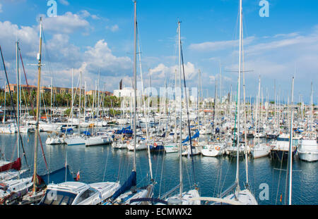 Barcelona Spain marina at Olympic Harbor with boats and ships in marina - Stock Photo