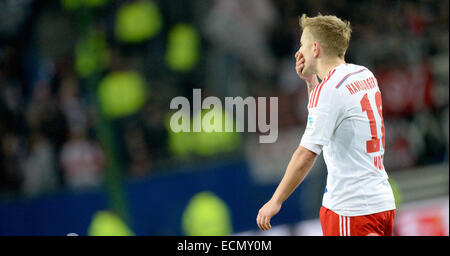 Hamburg, Germany. 16th Dec, 2014. Hamburg's Lewis Holtby reacts after the German Bundesliga soccer match between - Stock Photo
