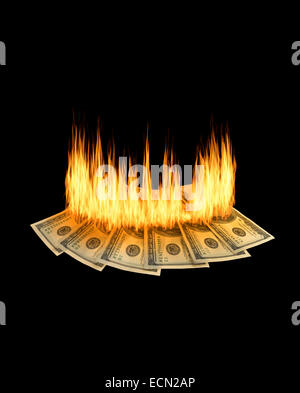 A pile of one hundred dollar bills are burning on a black background - Stock Photo