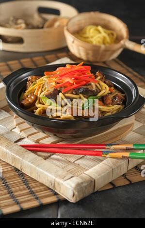Yakisoba. Fried noodles. Japanese Food - Stock Photo