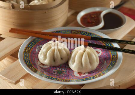 Char siu buns. Dim sum. Chinese dumplings. - Stock Photo