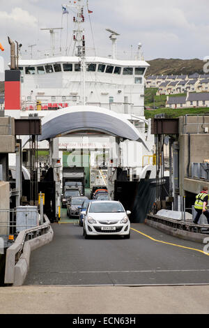 Cars disembarking from Skye car ferry 'MV Coruisk' docked at the terminal in port of Mallaig, Highland, Scotland, - Stock Photo