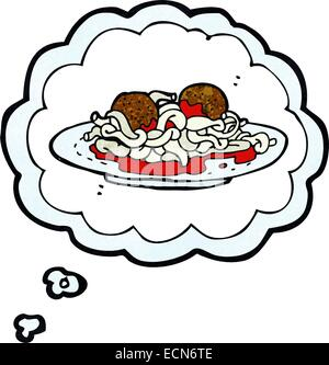 cartoon spaghetti and meatballs with thought bubble Stock ...