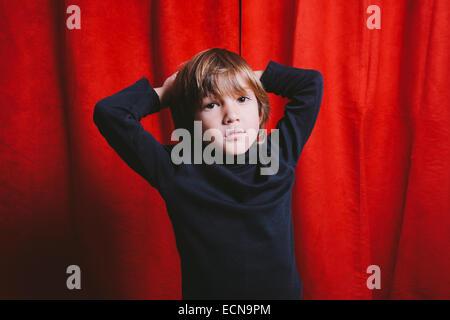 Studio portrait of a five year old boy