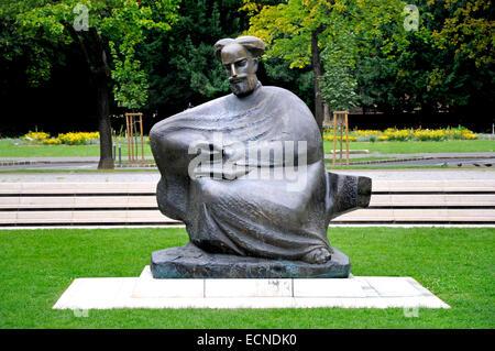 Zagreb, Croatia. Statue of Marco Marulic (Poet, 1450-1524) on Marulic Square - Stock Photo