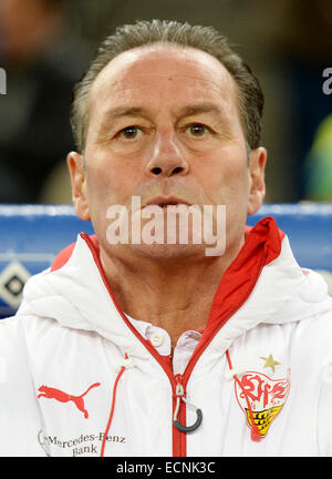 Hamburg, Germany. 16th Dec, 2014. Stuttgart's trainer Huub Stevens gestures before the German Bundesliga soccer - Stock Photo