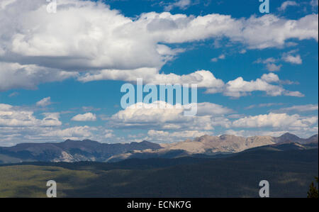 Elk Mountains from top of Aspen Mountain ski area in fall in Aspen in the Rocky Mountains of Colorado - Stock Photo
