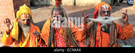 Portrait of Sadhu, Hindu holy men, in Hanuman Dhoka, UNESCO World Heritage Site, Durbar Square, Old Town, Kathmandu - Stock Photo
