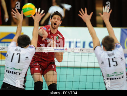 Tom Van Walle of Precura smashes the ball during men's Volleyball Champions League, 4th round, F group match VK - Stock Photo