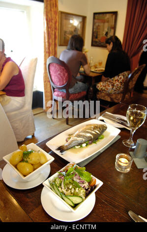 Fish dish in the restaurant at The Mason's Arms, Cumbria, UK - Stock Photo