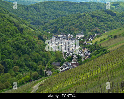 Village of Oberdiebach among the vineyards on west bank of the Rhine, upstream of Bacharach, Rhine Gorge, Germany - Stock Photo