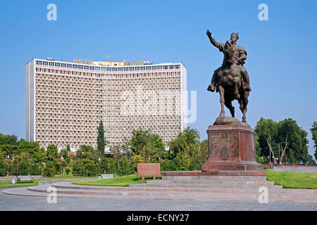 Hotel Uzbekistan and equestrian statue of great statesman and commander Amir Temur in the capital city Tashkent, - Stock Photo