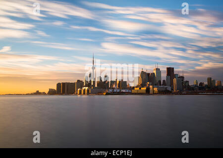 The Toronto skyline from the East at sunset taken with a long exposure - Stock Photo