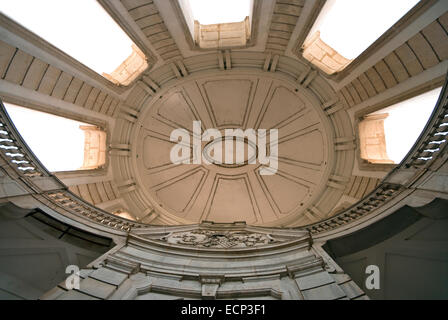 Certosa of San Lorenzo, ceiling of elliptical staircase, Padula, Campania, Italy - Stock Photo