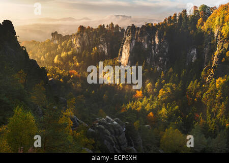 Early morning view in autumn over Elbe sandstone mountains near Bastei Swiss Saxony National Park, Saxony, Germany, - Stock Photo