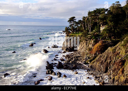 view of the california coast from the Esalen Institue in Big sur Montery county - Stock Photo